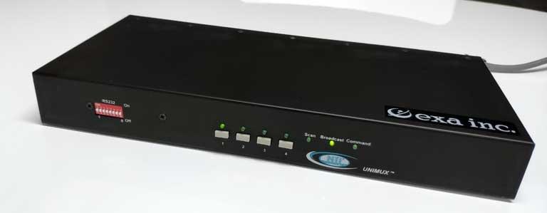 USB分配器として機能するUNIMUX-USBV-4Oの正面写真